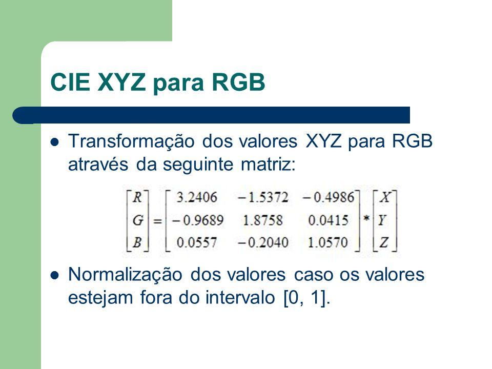CIE XYZ para RGB Transformação dos valores XYZ para RGB através da seguinte matriz: Normalização dos valores caso os valores estejam fora do intervalo