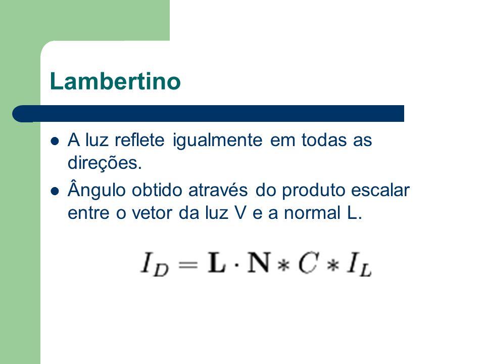 Lambertino A luz reflete igualmente em todas as direções. Ângulo obtido através do produto escalar entre o vetor da luz V e a normal L.