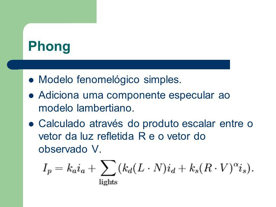 Phong Modelo fenomelógico simples. Adiciona uma componente especular ao modelo lambertiano. Calculado através do produto escalar entre o vetor da luz