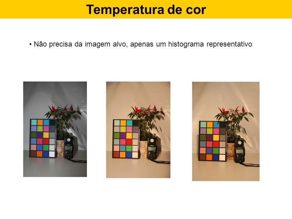Temperatura de cor Não precisa da imagem alvo, apenas um histograma representativo