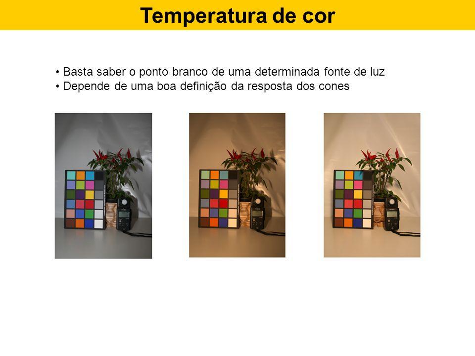 Temperatura de cor Basta saber o ponto branco de uma determinada fonte de luz Depende de uma boa definição da resposta dos cones