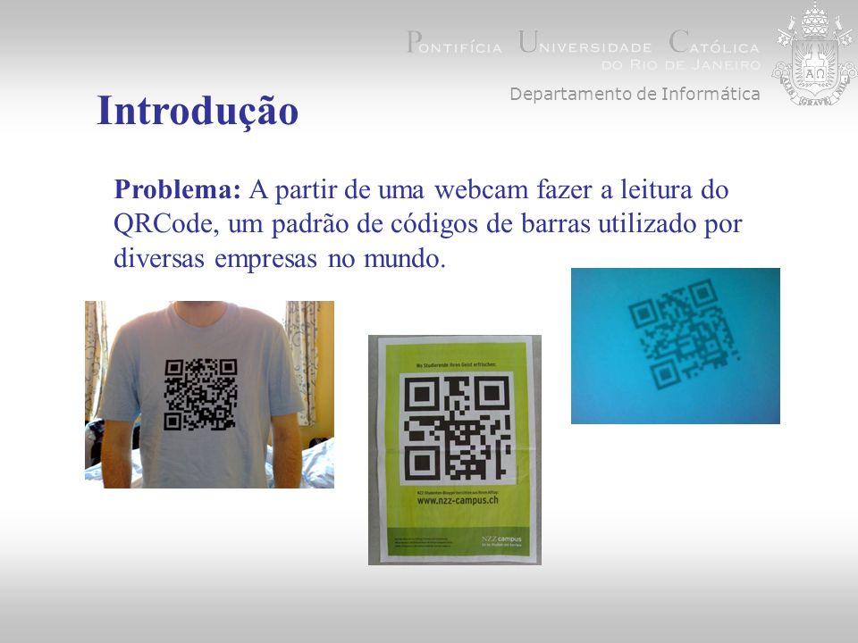 Introdução Problema: A partir de uma webcam fazer a leitura do QRCode, um padrão de códigos de barras utilizado por diversas empresas no mundo.