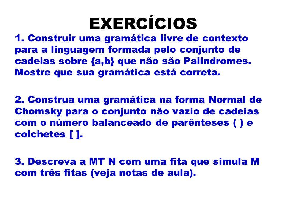 EXERCÍCIOS 1. Construir uma gramática livre de contexto para a linguagem formada pelo conjunto de cadeias sobre {a,b} que não são Palindromes. Mostre