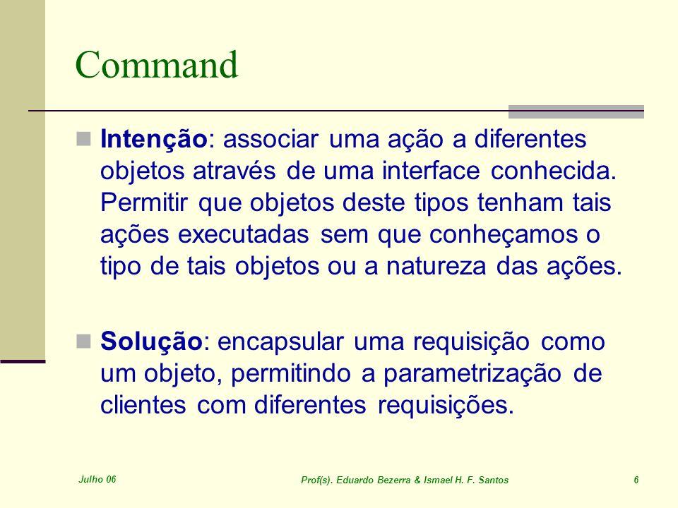 Julho 06 Prof(s). Eduardo Bezerra & Ismael H. F. Santos 6 Command Intenção: associar uma ação a diferentes objetos através de uma interface conhecida.