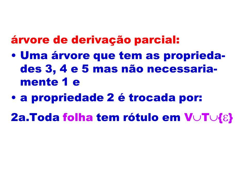 árvore de derivação parcial: Uma árvore que tem as proprieda- des 3, 4 e 5 mas não necessaria- mente 1 e a propriedade 2 é trocada por: 2a.Toda folha