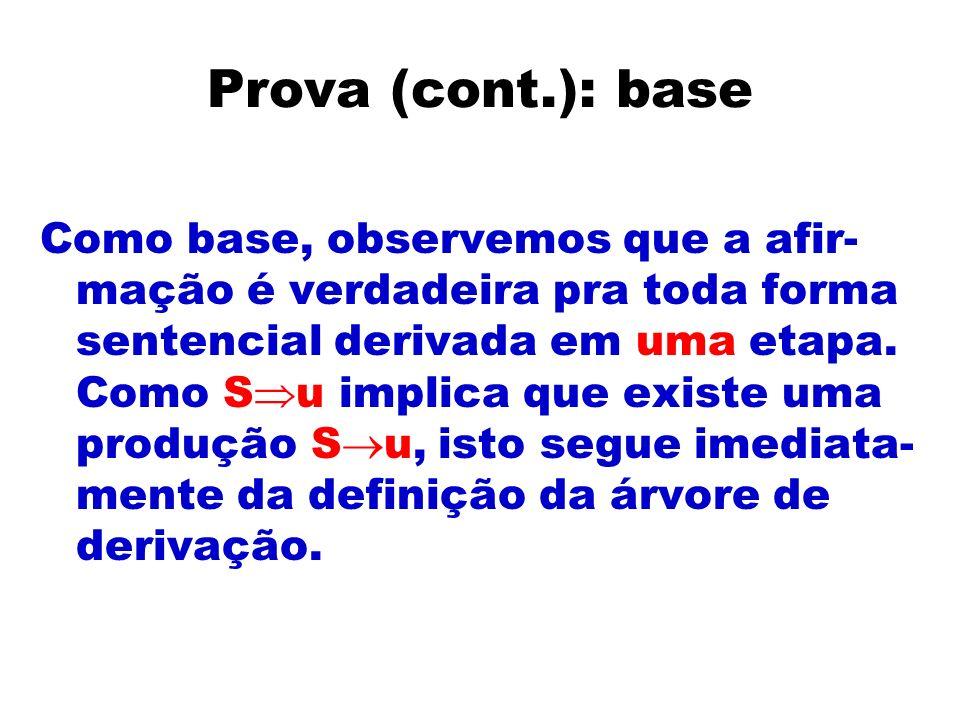 Prova (cont.): base Como base, observemos que a afir- mação é verdadeira pra toda forma sentencial derivada em uma etapa. Como S u implica que existe