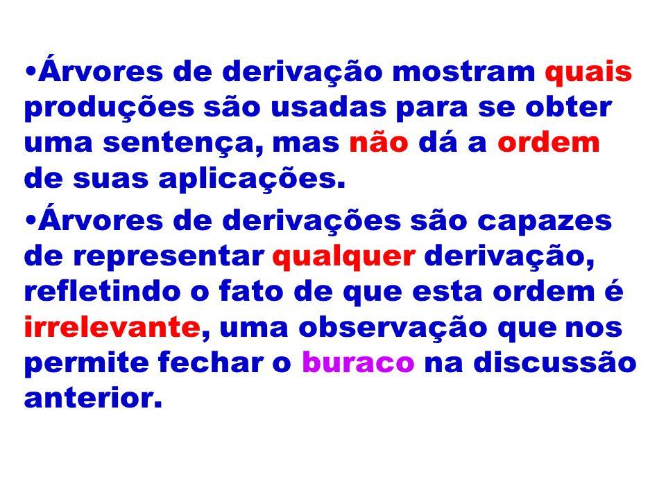 Árvores de derivação mostram quais produções são usadas para se obter uma sentença, mas não dá a ordem de suas aplicações. Árvores de derivações são c