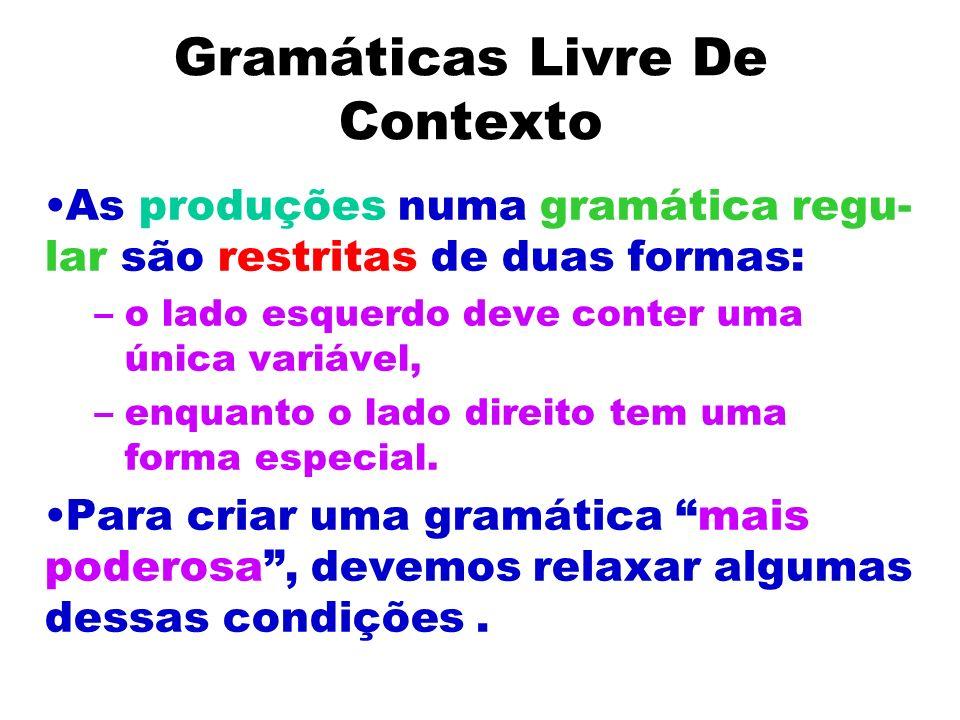 Gramáticas Livre De Contexto As produções numa gramática regu- lar são restritas de duas formas: –o lado esquerdo deve conter uma única variável, –enq