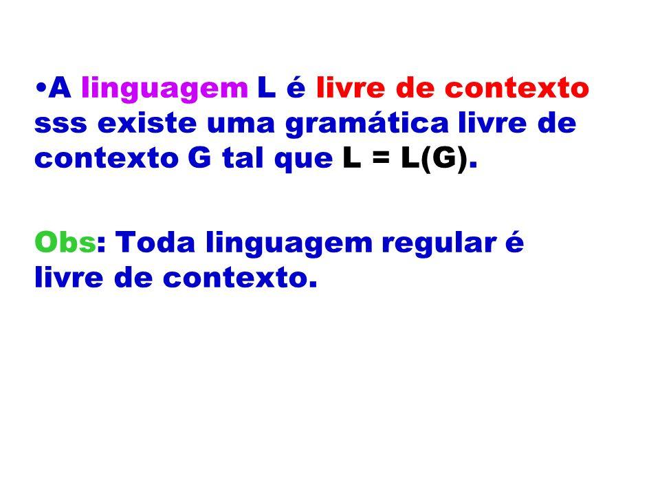 A linguagem L é livre de contexto sss existe uma gramática livre de contexto G tal que L = L(G). Obs: Toda linguagem regular é livre de contexto.