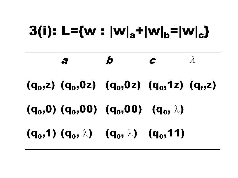 3(i): L={w : |w| a +|w| b =|w| c }