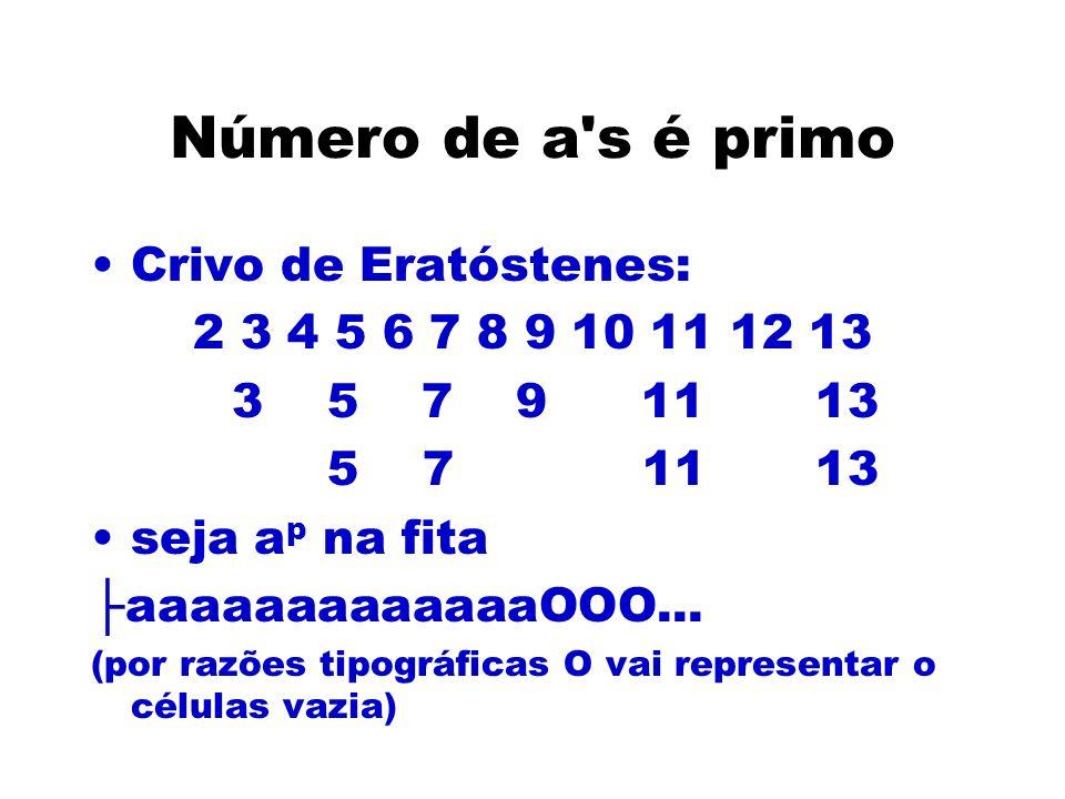 Número de a's é primo Crivo de Eratóstenes: 2 3 4 5 6 7 8 9 10 11 12 13 3 5 7 9 11 13 5 7 11 13 seja a p na fita aaaaaaaaaaaaaOOO... (por razões tipog
