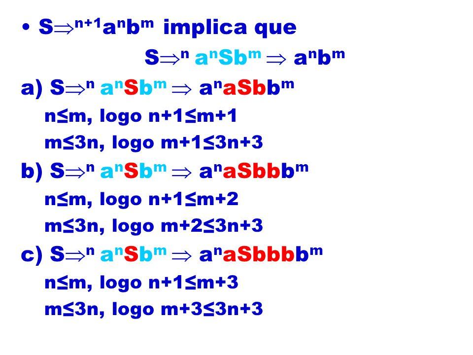 S n+1 a n b m implica que S n a n Sb m a n b m a) S n a n Sb m a n aSbb m nm, logo n+1m+1 m3n, logo m+13n+3 b) S n a n Sb m a n aSbbb m nm, logo n+1m+2 m3n, logo m+23n+3 c) S n a n Sb m a n aSbbbb m nm, logo n+1m+3 m3n, logo m+33n+3