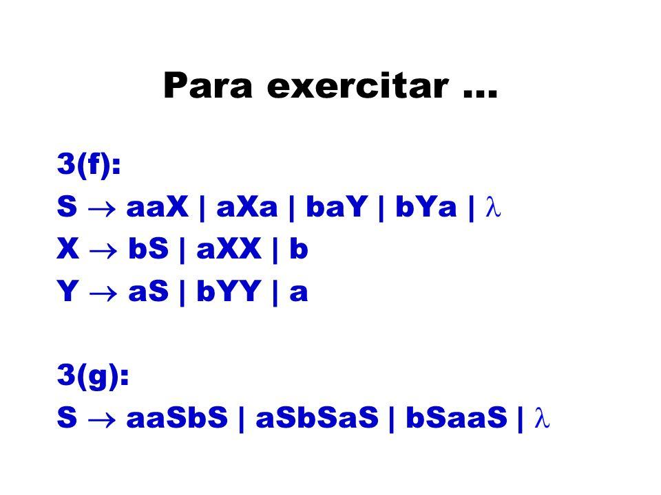 Para exercitar... 3(f): S aaX | aXa | baY | bYa | X bS | aXX | b Y aS | bYY | a 3(g): S aaSbS | aSbSaS | bSaaS |