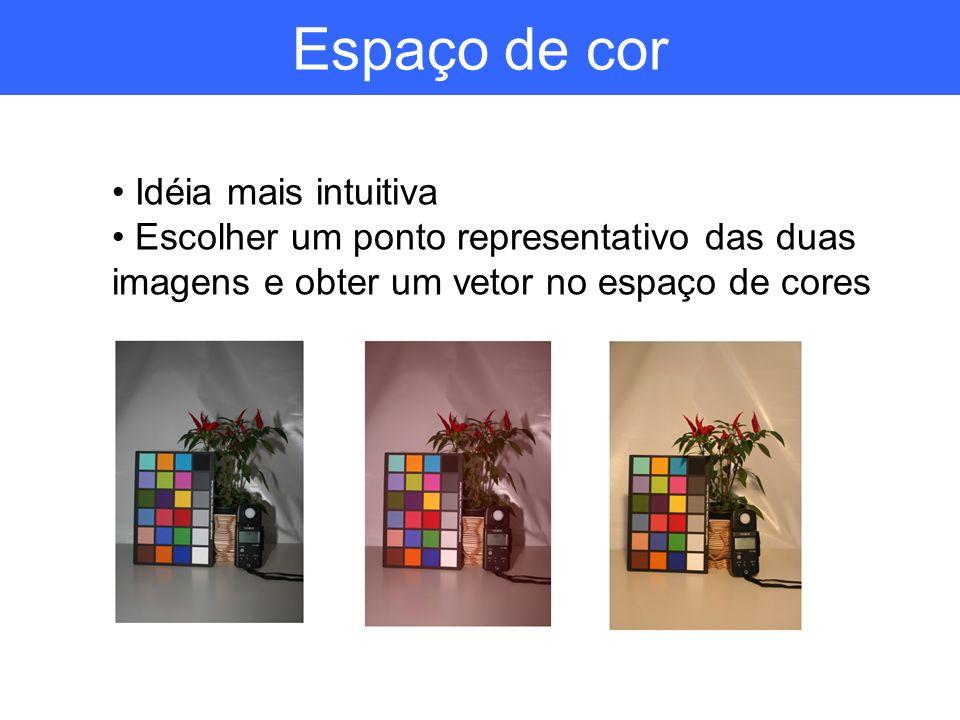Espaço de cor Idéia mais intuitiva Escolher um ponto representativo das duas imagens e obter um vetor no espaço de cores