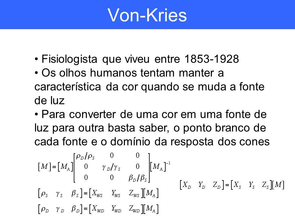 Von-Kries Fisiologista que viveu entre 1853-1928 Os olhos humanos tentam manter a característica da cor quando se muda a fonte de luz Para converter d
