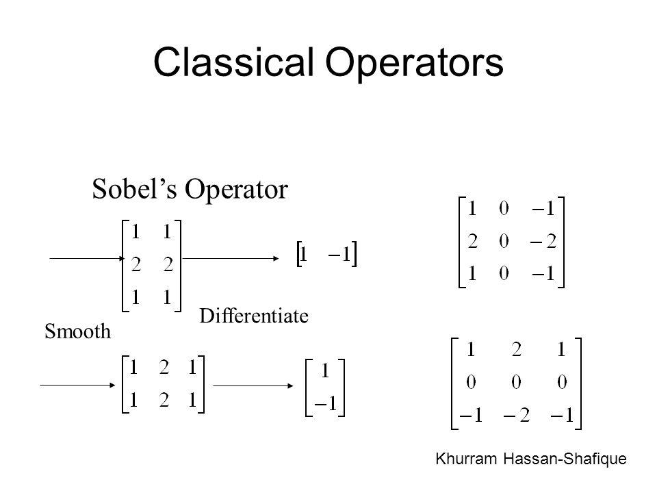 Classical Operators Sobels Operator Smooth Differentiate Khurram Hassan-Shafique