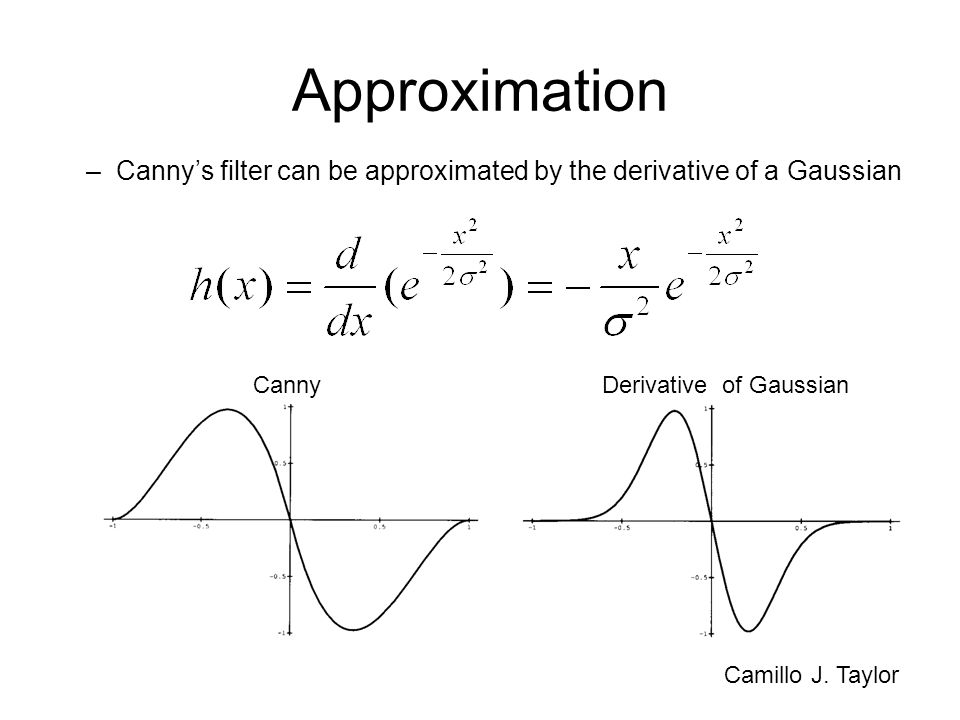 Approximation –Cannys filter can be approximated by the derivative of a Gaussian Camillo J. Taylor Derivative of GaussianCanny