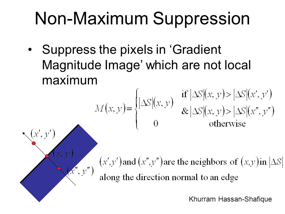 Non-Maximum Suppression Suppress the pixels in Gradient Magnitude Image which are not local maximum Khurram Hassan-Shafique