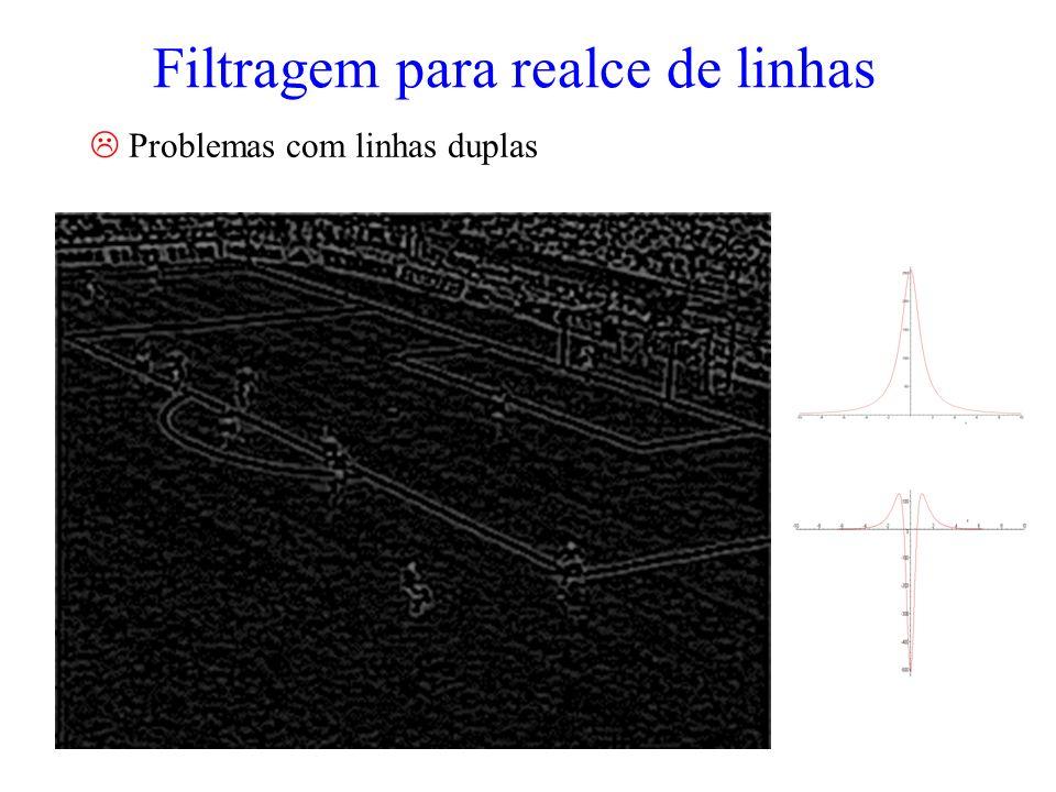 Filtragem para realce de linhas Problemas com linhas duplas