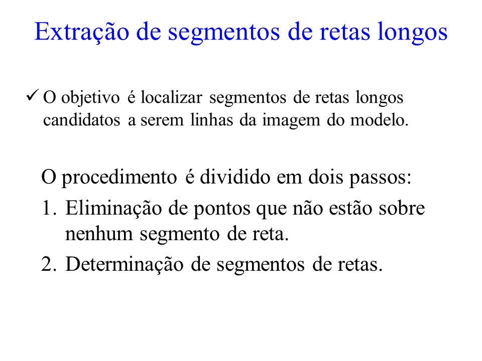 Extração de segmentos de retas longos O objetivo é localizar segmentos de retas longos candidatos a serem linhas da imagem do modelo. O procedimento é