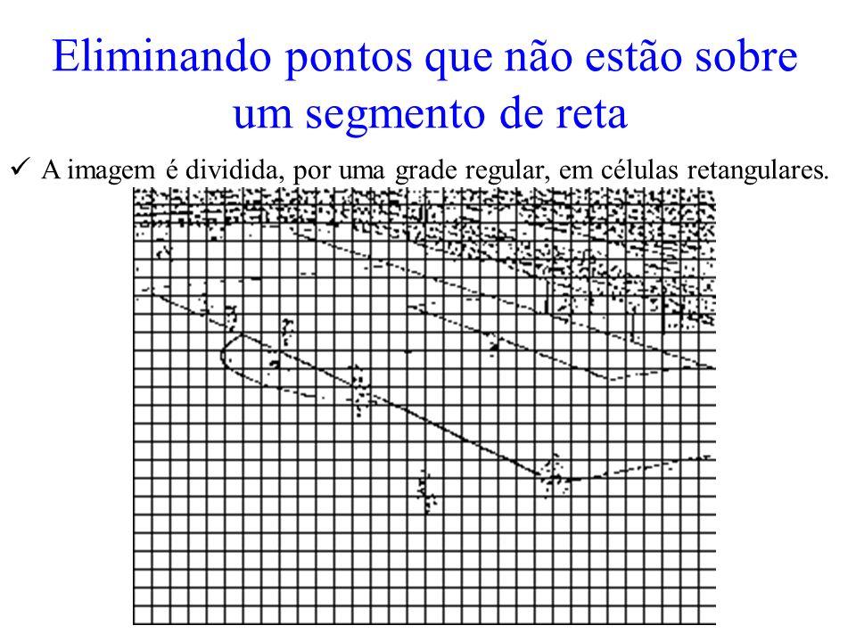 Eliminando pontos que não estão sobre um segmento de reta A imagem é dividida, por uma grade regular, em células retangulares.