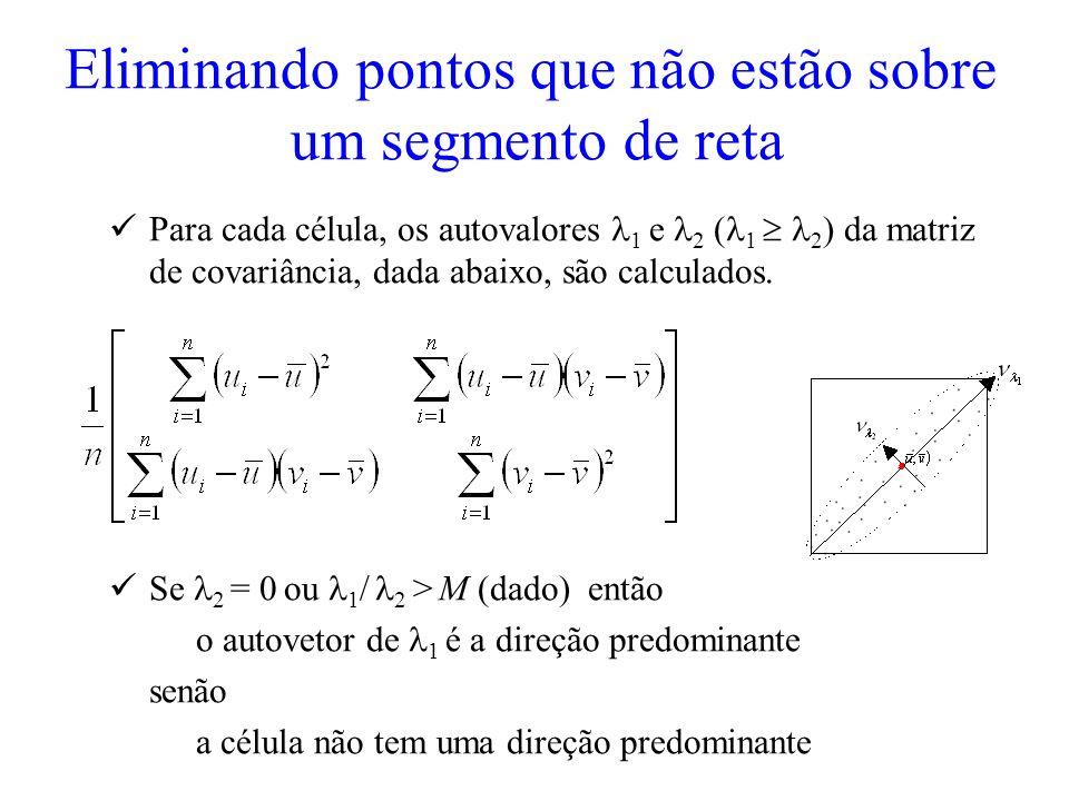 Eliminando pontos que não estão sobre um segmento de reta Para cada célula, os autovalores 1 e 2 ( 1 2 ) da matriz de covariância, dada abaixo, são ca