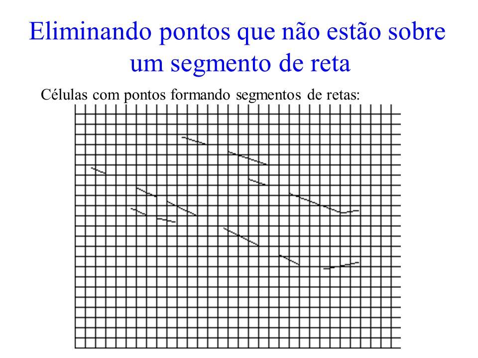 Eliminando pontos que não estão sobre um segmento de reta Células com pontos formando segmentos de retas: