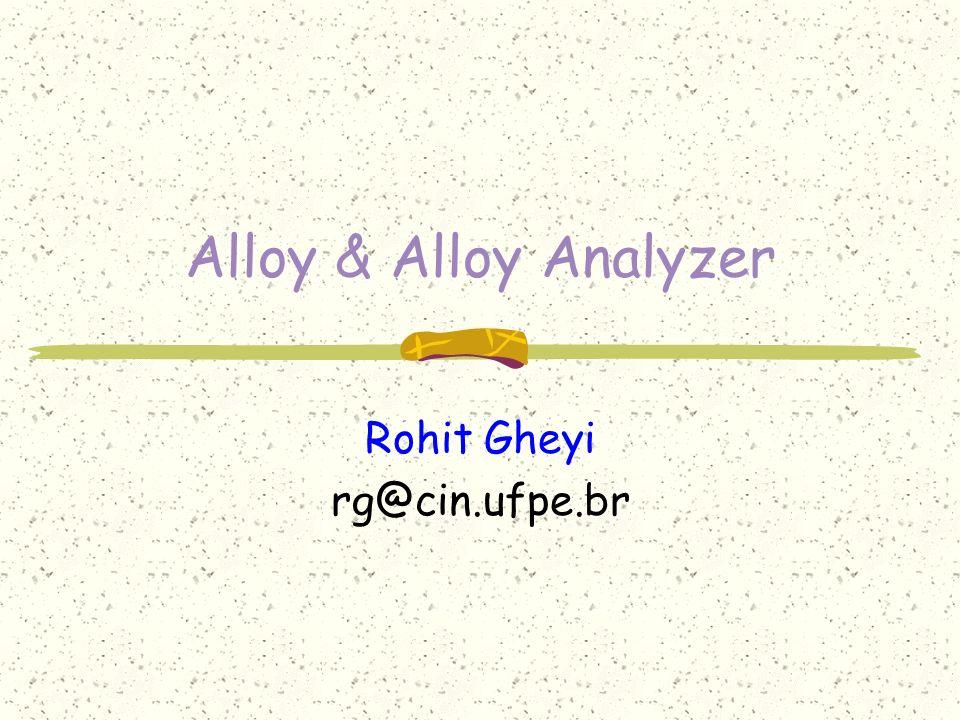 Roteiro 1.Definição e Características 2.Noções Básicas 3.A linguagem 4.O Alloy Analyzer 5.Exemplo 6.Comparações com UML/OCL 7.Conclusões e Bibliografia
