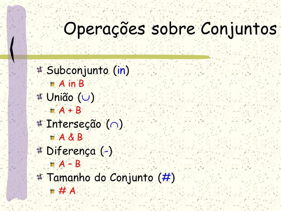 Operadores Relacionais Transposta (~r) É a relação inversa ~pai=filhopai João José João.pai = José José.~pai = João