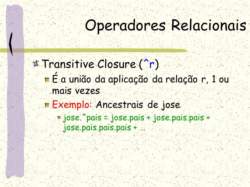 Operadores Relacionais Join ou Composição (s 1,…,s n-1, s n ) (t 1,t 2,…, t m ) Join = (s 1,…, s n-1, t 2,…, t m ), onde s n = t 1 Exemplo: Se S for um conjunto e r uma relação binária: S.r = é a imagem relacional de S em r