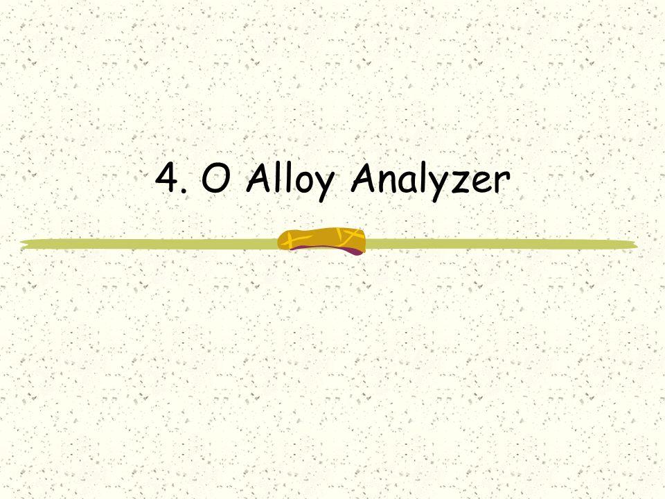 Alloy Analyzer É uma ferramenta para análise automática de modelos É mais um model finder do que um model checker É mais um refutador do que um provador de teoremas Se ele achar um contra-exemplo ele mostra.