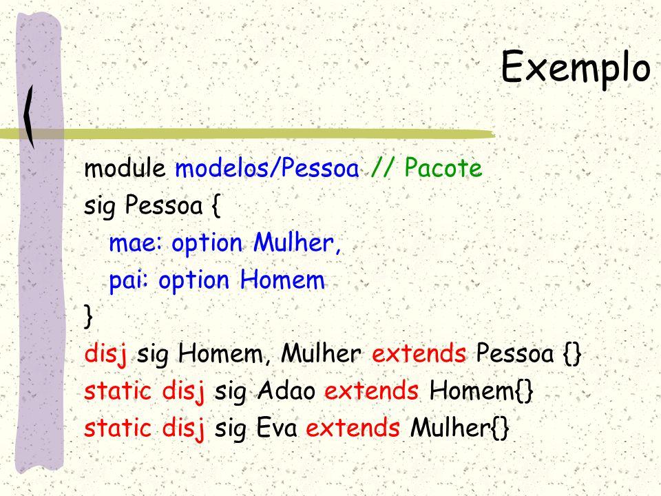 Exemplo fun Pessoa::getFilhos(): set Pessoa{ result = this.~pai+ this.~mae } fact P { all p:Adao+Eva | no (p.pai+p.mae) all p: (Pessoa-Adao-Eva) | one p.pai && one p.mae all p: Pessoa | all filhos: p..getFilhos() | filhos .