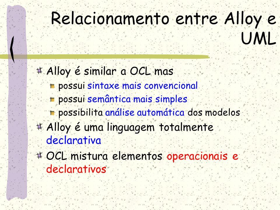 Relacionamento entre Alloy e UML A utilização do operador ponto (.) em Alloy dá uma interpretação mais uniforme e flexível do que OCL Como os operadores podem ser aplicados a conjuntos e relações, Alloy tende a ser mais sucinto do que OCL Os modelos de OCL são mais difíceis de ler e escrever