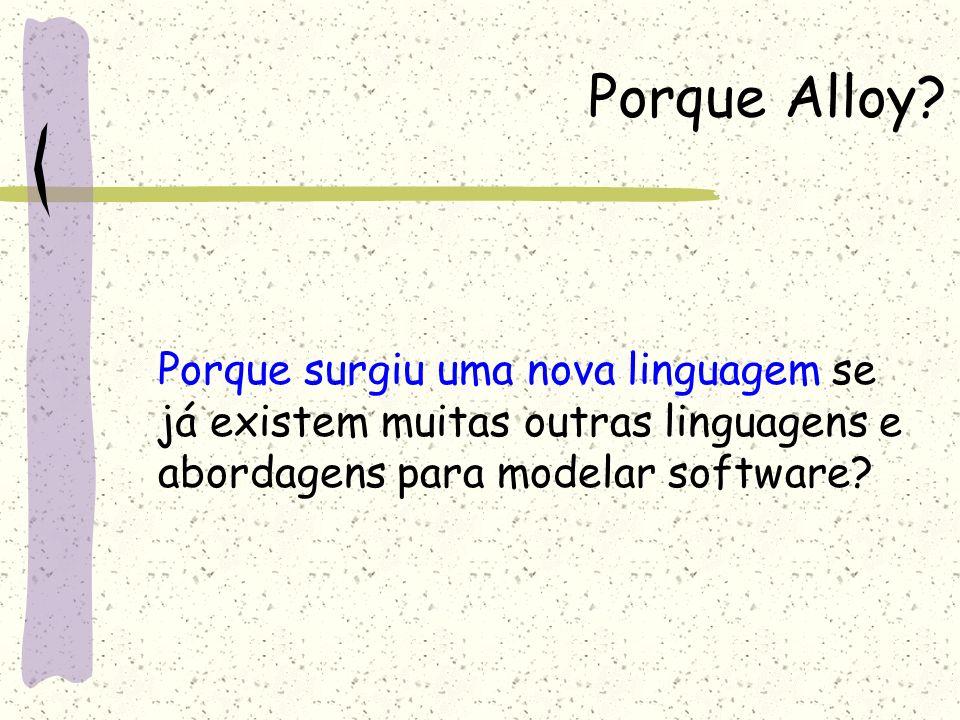 Características Características dos modelos de Alloy Micro modelos Analisável Declarativa Estruturada