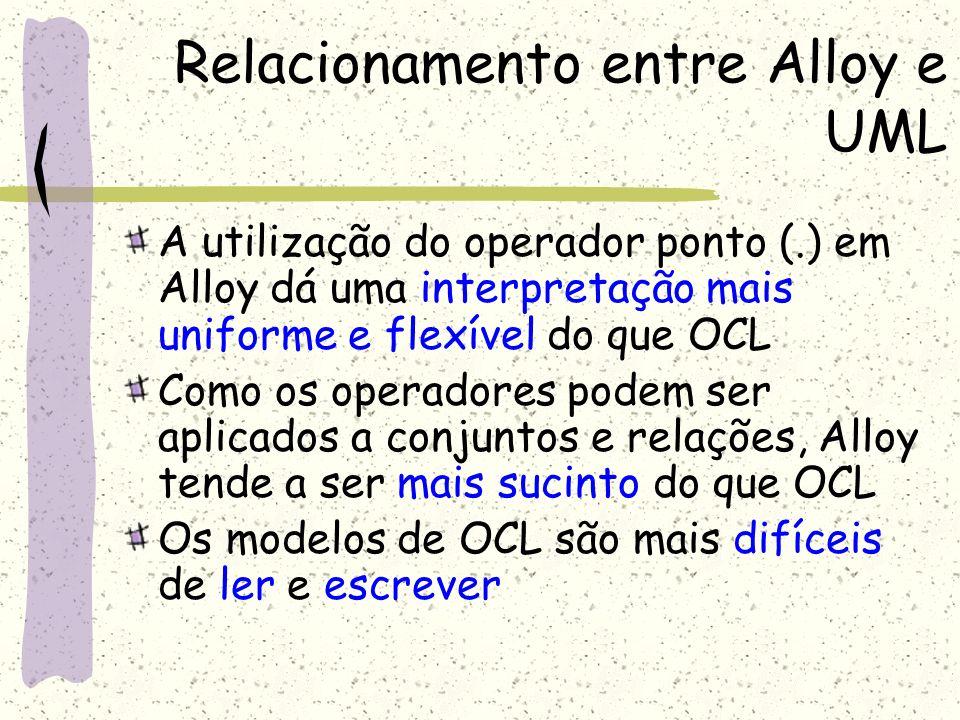 Relacionamento entre Alloy e UML Alloy lida com relações com qualquer aridade Alloy possui um mecanismo de estruturação que permite o reuso de fragmentos do modelo O modelo em Alloy não só descreve seus objetos e operações mas também as propriedades que necessitem serem checadas