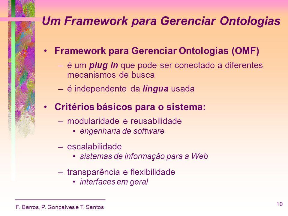 _____________________________ F. Barros, P. Gonçalves e T. Santos 10 Um Framework para Gerenciar Ontologias Framework para Gerenciar Ontologias (OMF)