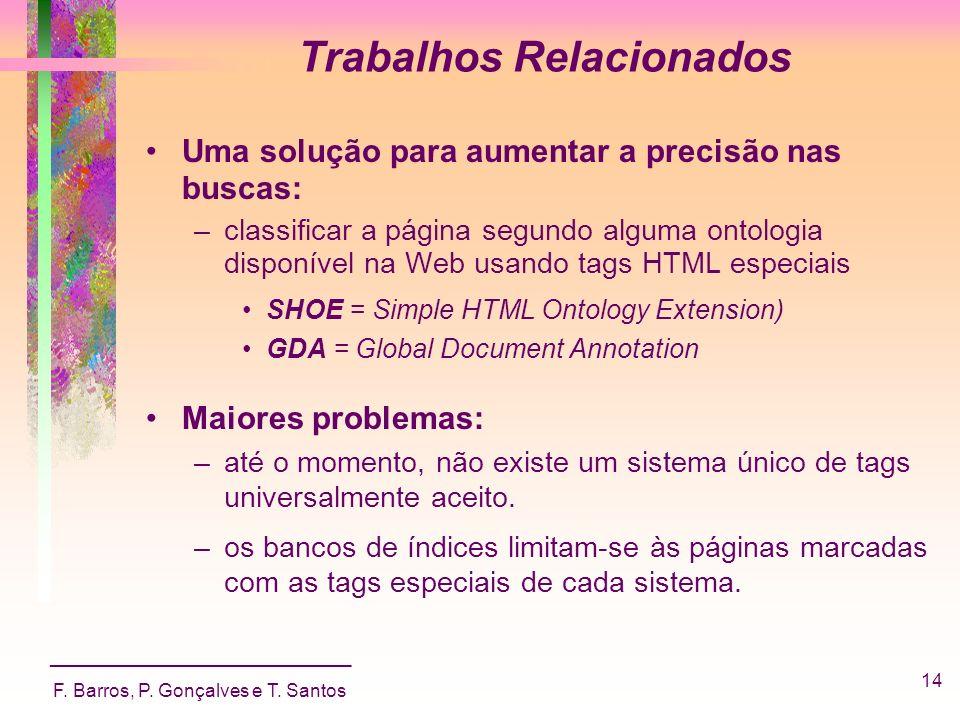 _____________________________ F. Barros, P. Gonçalves e T. Santos 14 Trabalhos Relacionados Uma solução para aumentar a precisão nas buscas: –classifi
