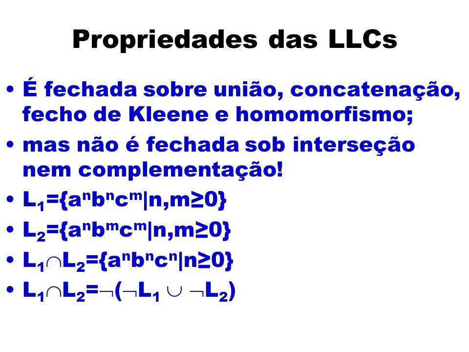 Propriedades das LLCs É fechada sobre união, concatenação, fecho de Kleene e homomorfismo; mas não é fechada sob interseção nem complementação! L 1 ={