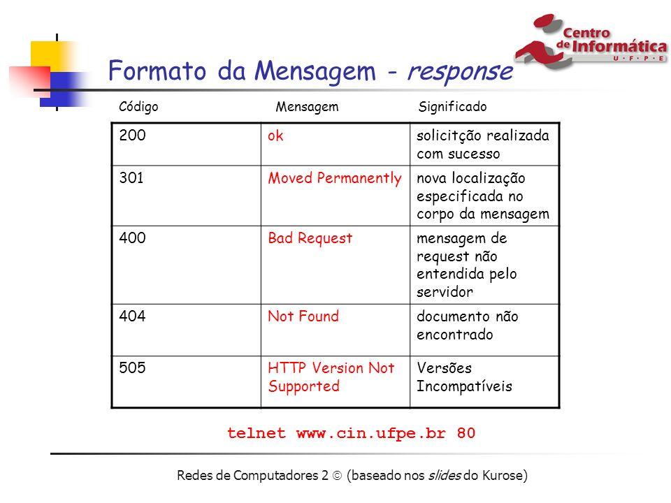 Redes de Computadores 2 (baseado nos slides do Kurose) Formato da Mensagem - response 200oksolicitção realizada com sucesso 301Moved Permanentlynova l