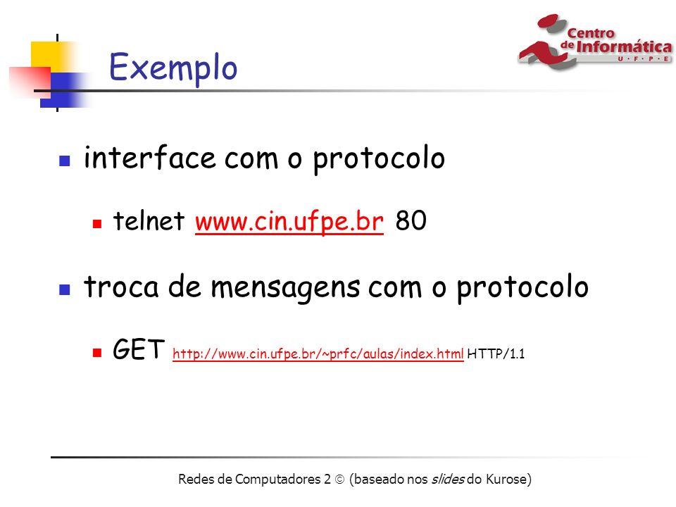 Redes de Computadores 2 (baseado nos slides do Kurose) Exemplo interface com o protocolo telnet www.cin.ufpe.br 80www.cin.ufpe.br troca de mensagens c
