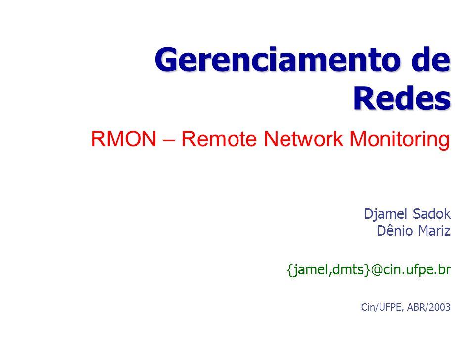 RMON – Remote Network Monitoring Gerenciamento de Redes Djamel Sadok Dênio Mariz {jamel,dmts}@cin.ufpe.br Cin/UFPE, ABR/2003