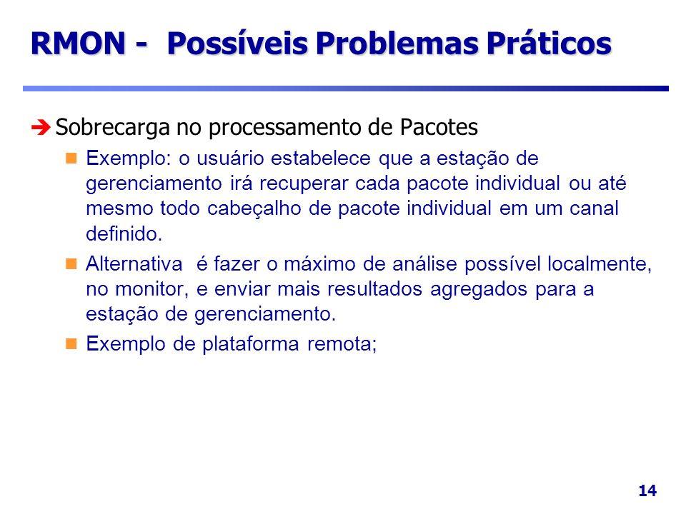 14 RMON - Possíveis Problemas Práticos Sobrecarga no processamento de Pacotes Exemplo: o usuário estabelece que a estação de gerenciamento irá recuper
