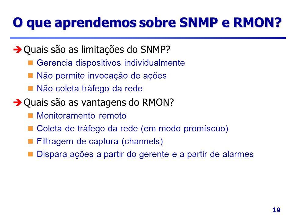19 O que aprendemos sobre SNMP e RMON? Quais são as limitações do SNMP? Gerencia dispositivos individualmente Não permite invocação de ações Não colet