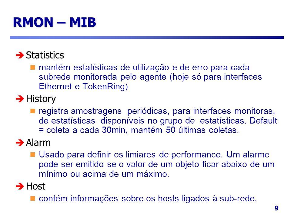 9 RMON – MIB Statistics mantém estatísticas de utilização e de erro para cada subrede monitorada pelo agente (hoje só para interfaces Ethernet e Token