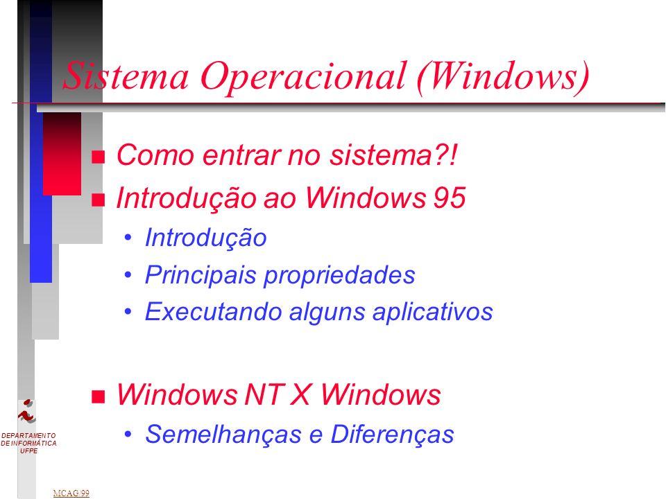DEPARTAMENTO DE INFORMÁTICA UFPE MCAG/99 Sistema Operacional (Windows) n Como entrar no sistema?.