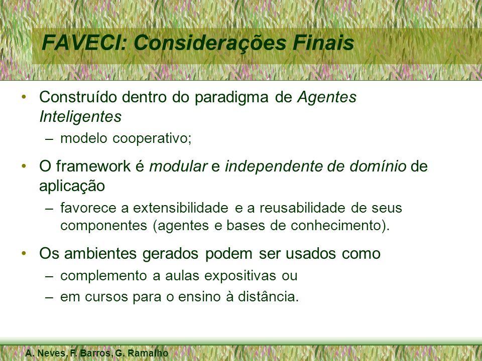 A. Neves, F. Barros, G. Ramalho FAVECI: Considerações Finais Construído dentro do paradigma de Agentes Inteligentes –modelo cooperativo; O framework é