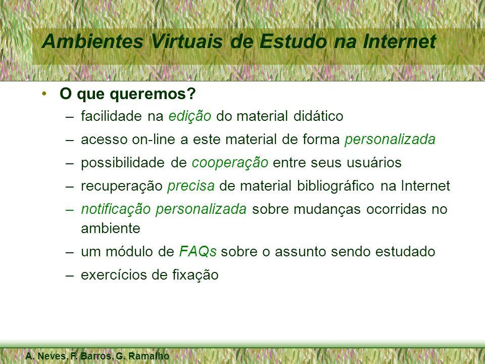A. Neves, F. Barros, G. Ramalho Ambientes Virtuais de Estudo na Internet O que queremos? –facilidade na edição do material didático –acesso on-line a