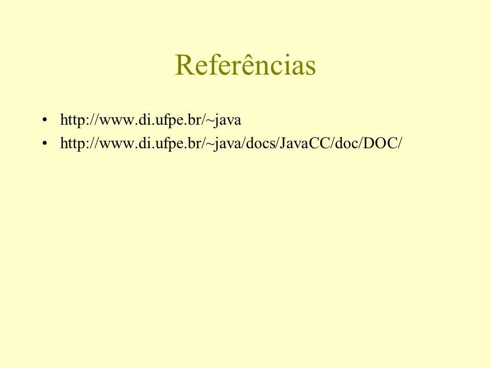 Referências http://www.di.ufpe.br/~java http://www.di.ufpe.br/~java/docs/JavaCC/doc/DOC/