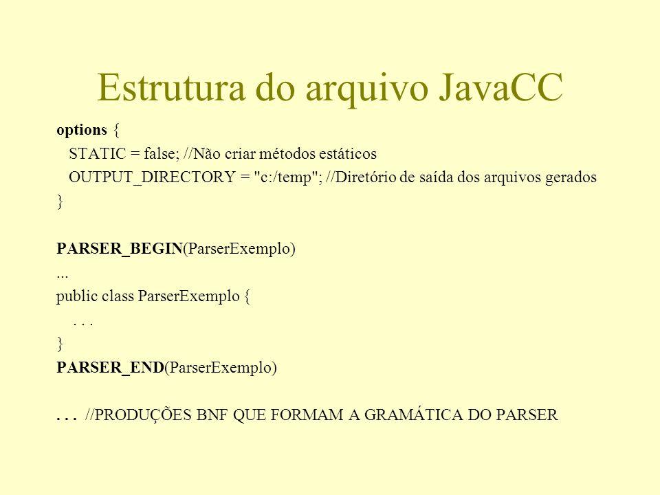 Estrutura do arquivo JavaCC options { STATIC = false; //Não criar métodos estáticos OUTPUT_DIRECTORY =