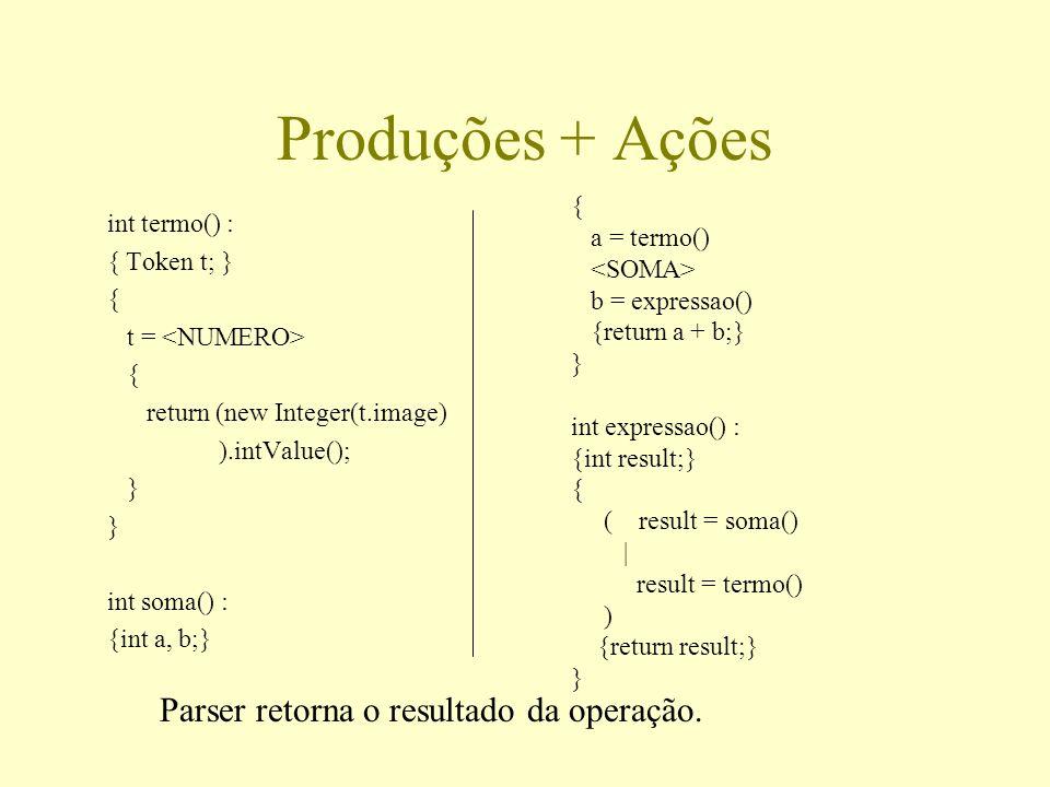 Produções + Ações int termo() : { Token t; } { t = { return (new Integer(t.image) ).intValue(); } int soma() : {int a, b;} { a = termo() b = expressao